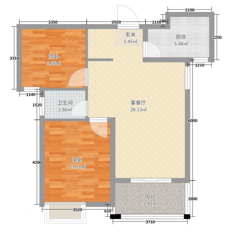 天虹世纪城80.00㎡高层38#两边户户型2室2厅1卫1厨