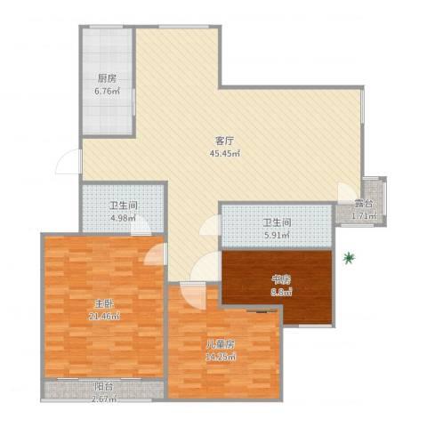 星洲花园3室1厅2卫1厨140.00㎡户型图