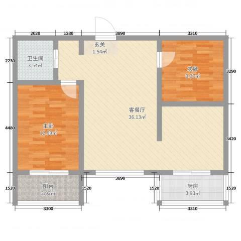 怡甸庄园2室2厅1卫1厨84.00㎡户型图