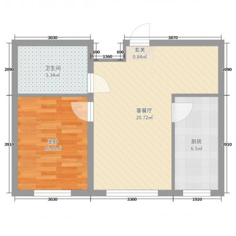 城投・畅心园1室2厅1卫1厨63.00㎡户型图