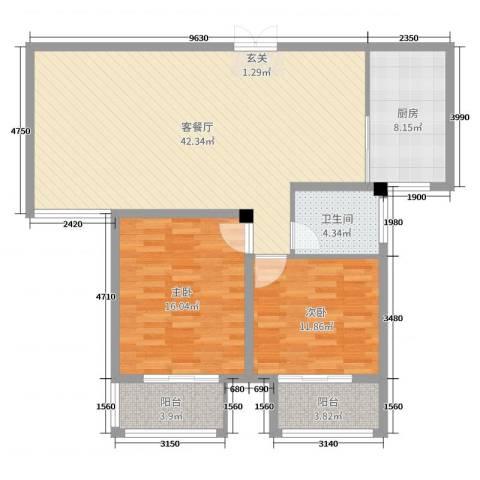 北景园2室2厅1卫1厨113.00㎡户型图