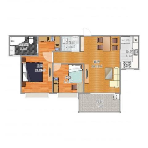 国贸天琴湾2室1厅2卫1厨86.00㎡户型图