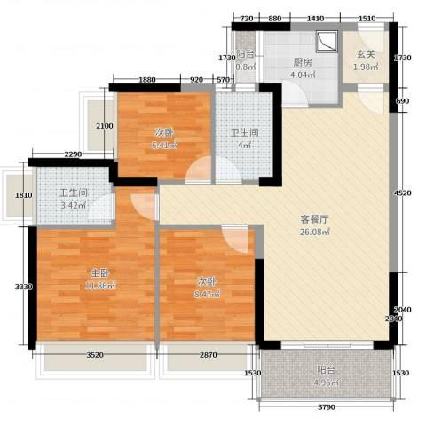 滨海御庭2期3室2厅2卫1厨90.00㎡户型图