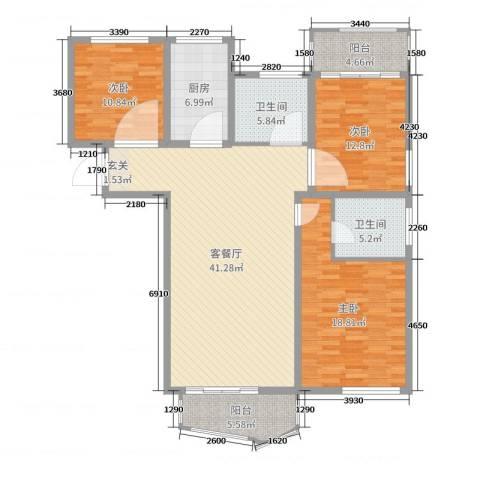 泰恒华府3室2厅2卫1厨140.00㎡户型图