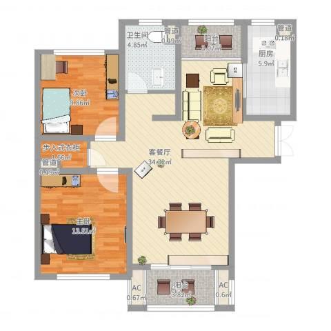 银洲皇家花园2室2厅1卫1厨114.00㎡户型图