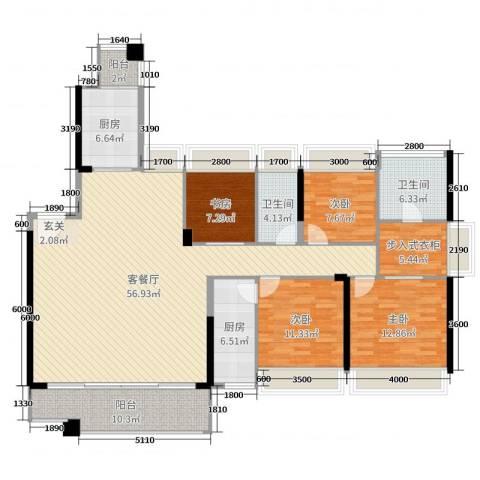 滨海御庭2期4室2厅2卫2厨180.00㎡户型图