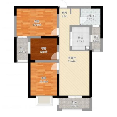 腾瑞・幸福里3室2厅1卫1厨89.00㎡户型图