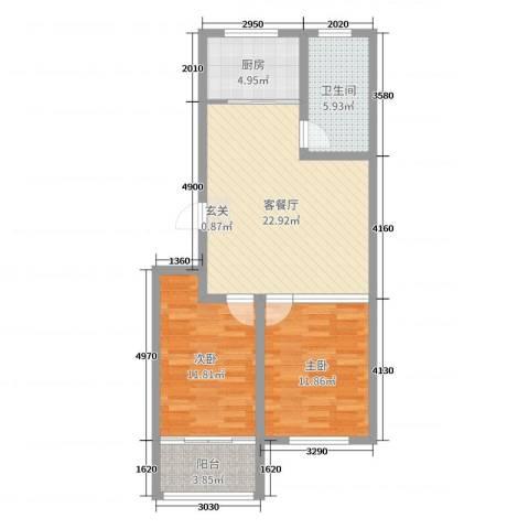 龙凤花园2室2厅1卫1厨76.00㎡户型图