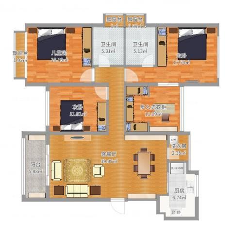 中航城3室2厅2卫1厨158.00㎡户型图