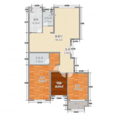 麒麟公馆3室2厅2卫1厨146.00㎡户型图