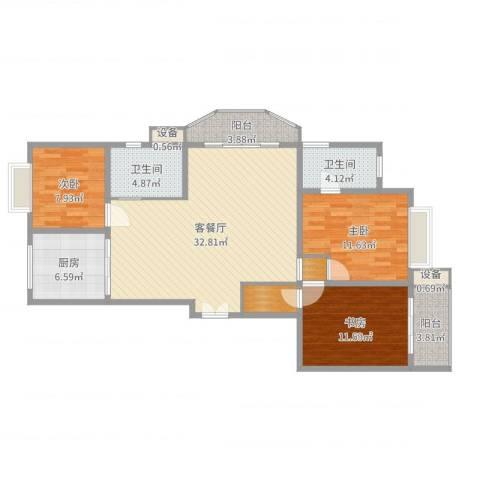 嘉禾花园3室2厅2卫1厨114.00㎡户型图