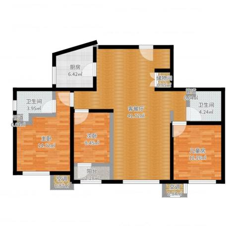 华润·润西山3室2厅2卫1厨121.00㎡户型图