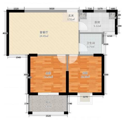 联众光辉乾城2室2厅1卫1厨75.00㎡户型图