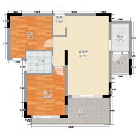 德远未来之城2室2厅1卫1厨97.00㎡户型图