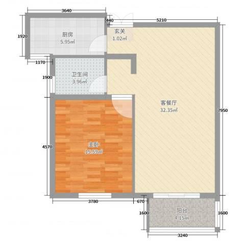 明珠・皇冠花园1室2厅1卫1厨77.00㎡户型图