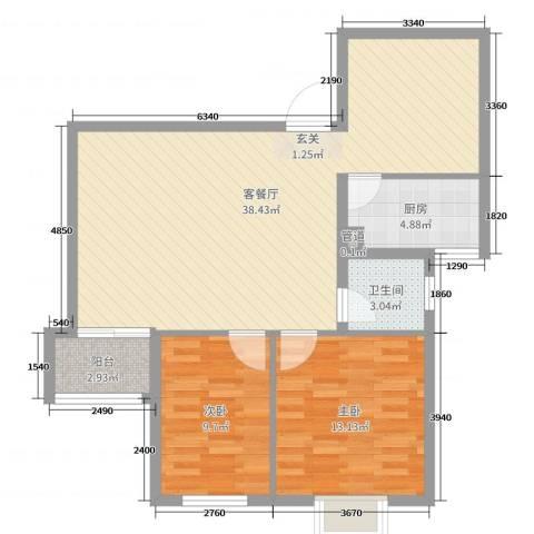 胜中尚东水润2室2厅1卫1厨90.00㎡户型图