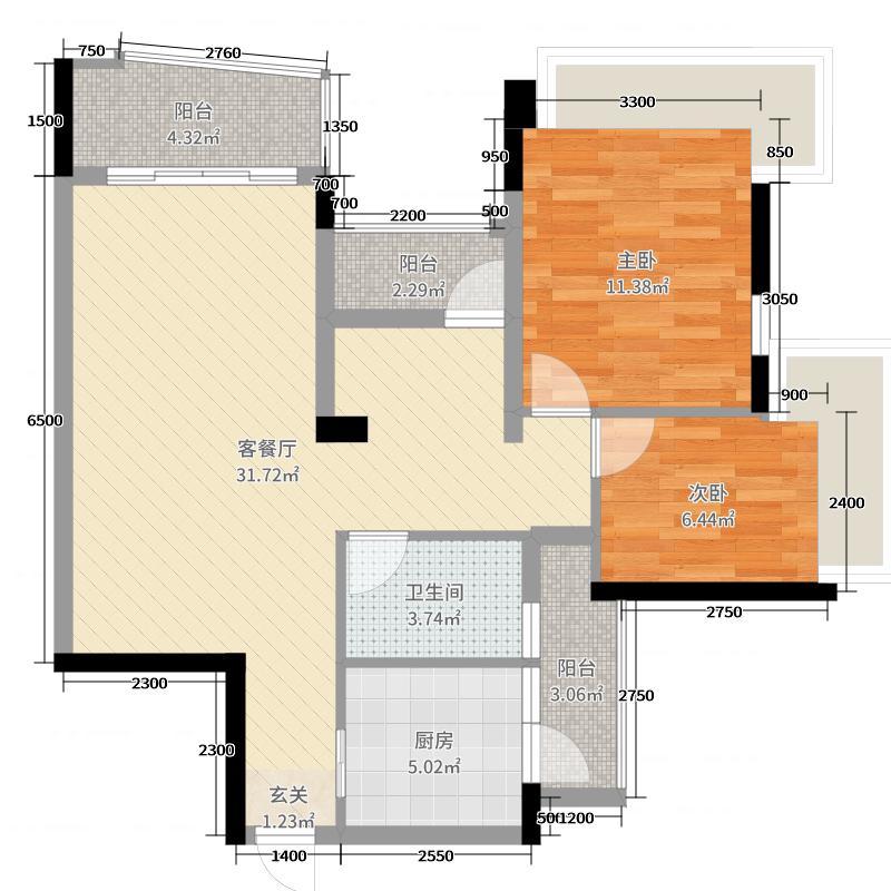 雅居乐曼克顿山90.00㎡1/4/5座01/06单元户型3室3厅1卫1厨