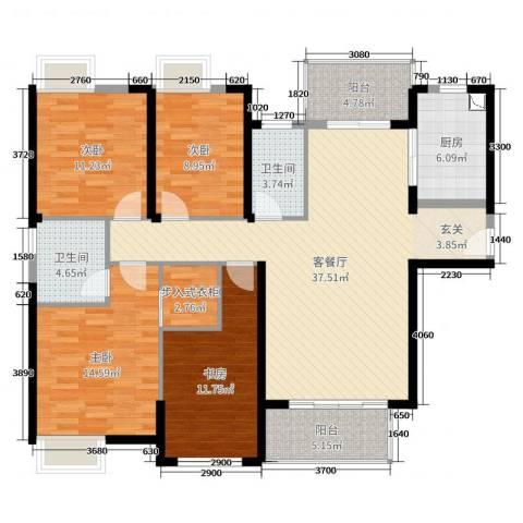 万益广场4室2厅2卫1厨139.00㎡户型图