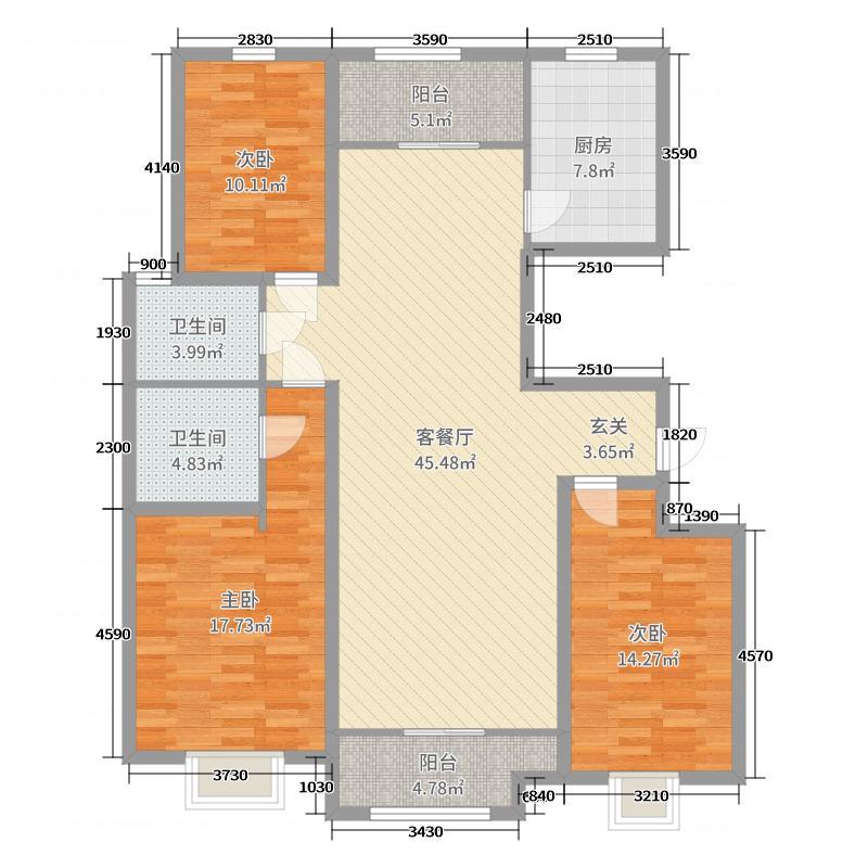 民生凤凰城142.00㎡N户型3室3厅2卫1厨