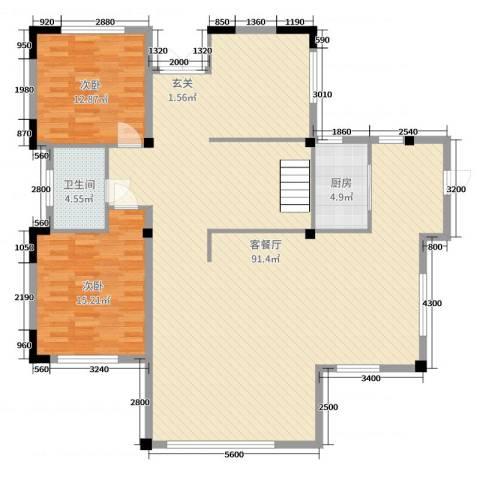 金田花园花域2室2厅1卫1厨488.00㎡户型图