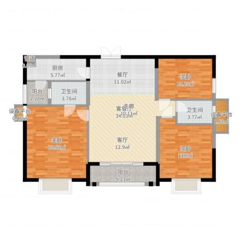 华强城・卡塞雷斯3室2厅2卫1厨127.00㎡户型图