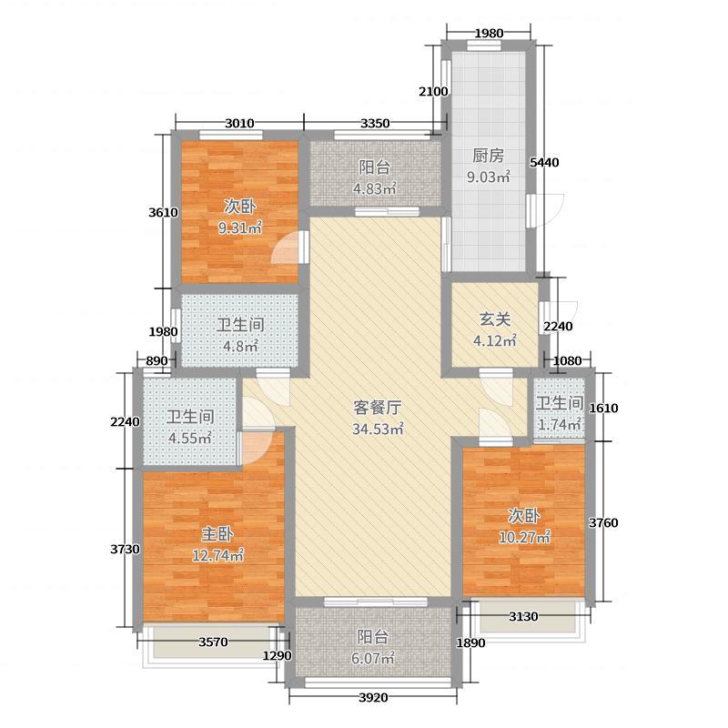 湖山壹品127.00㎡D1户型3室3厅3卫1厨