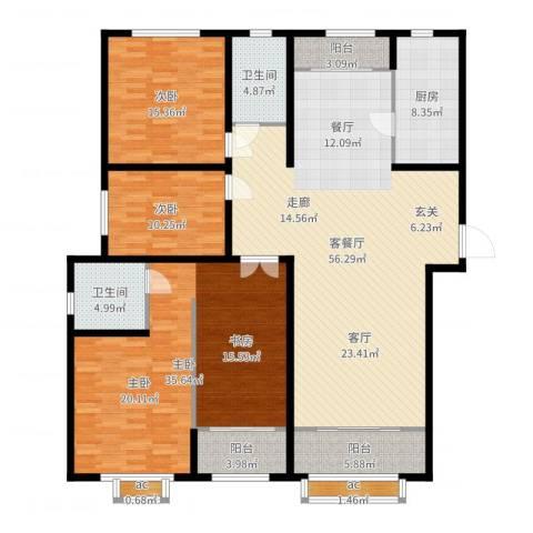 广厦聚隆广场3室2厅2卫1厨189.00㎡户型图