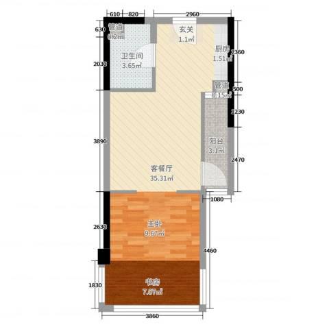 富闽时代广场2厅1卫0厨53.00㎡户型图