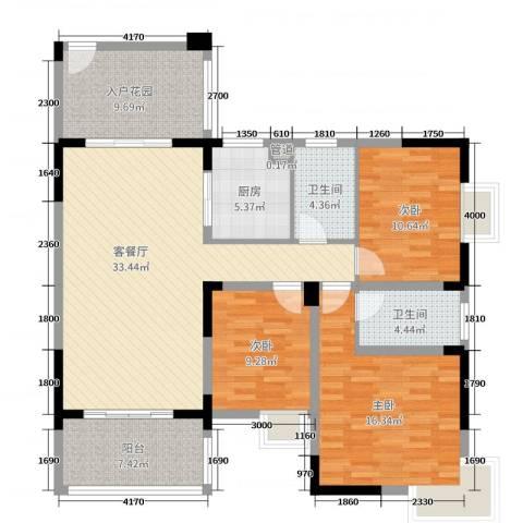 铜锣湾3室2厅2卫1厨136.00㎡户型图