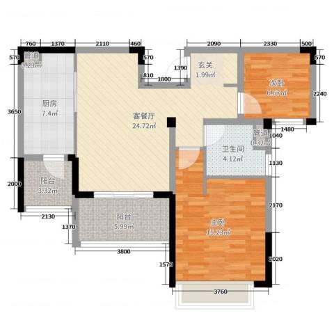 吴月雅境2室2厅1卫1厨85.00㎡户型图