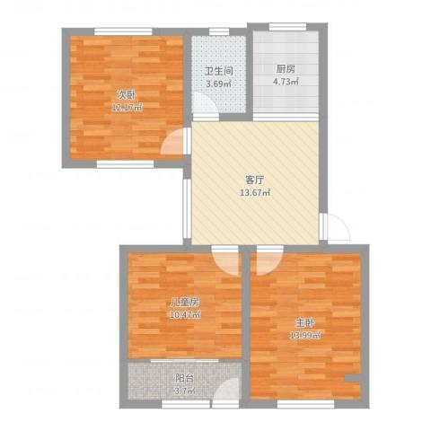 仓城六村3室1厅1卫1厨78.00㎡户型图