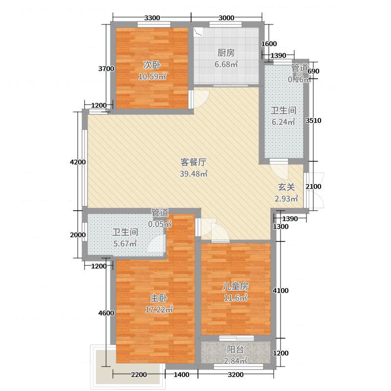 泰丰观湖146.02㎡6#10#C2-1户型3室3厅2卫1厨