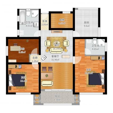 凤凰花园城3室2厅2卫1厨135.00㎡户型图