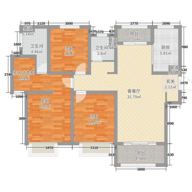 协信未来城116.00㎡C2户型3室3厅2卫1厨
