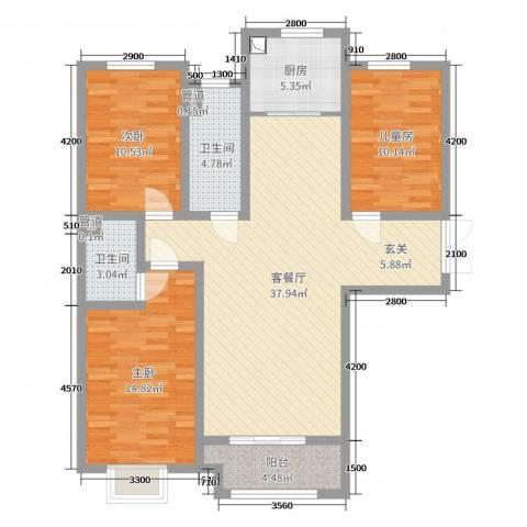 泰丰观湖3室2厅2卫1厨137.00㎡户型图