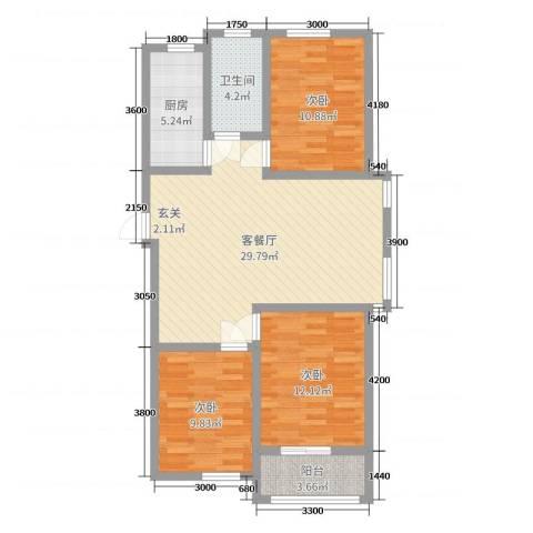 水木大兴3室2厅1卫1厨118.00㎡户型图
