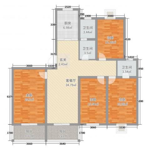 祥和至尊4室2厅3卫1厨156.00㎡户型图