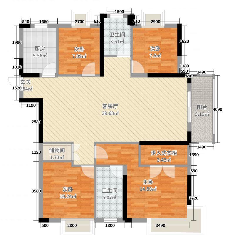 保利时代141.61㎡4-A户型4室4厅2卫1厨