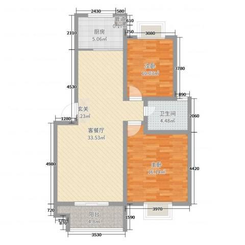 楚香苑2室2厅1卫1厨93.00㎡户型图