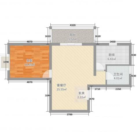 九龙湖・福地阁1室2厅1卫1厨67.00㎡户型图