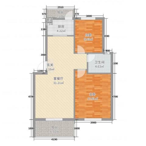 锦隆・时代华庭2室2厅1卫1厨91.00㎡户型图