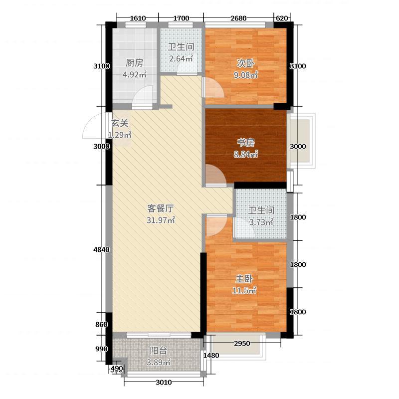 长投绿城�m园117.00㎡5/6#C3户型3室3厅2卫1厨