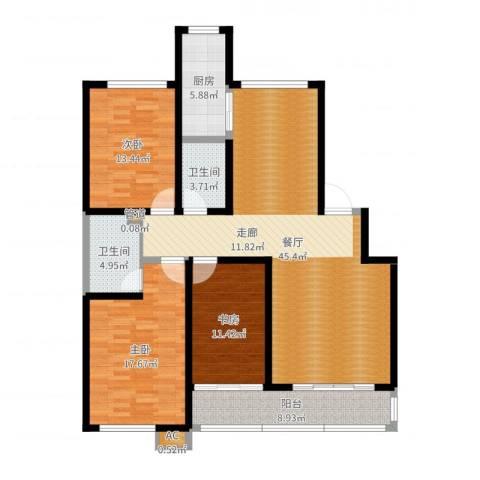 兴园小区3室1厅2卫1厨140.00㎡户型图