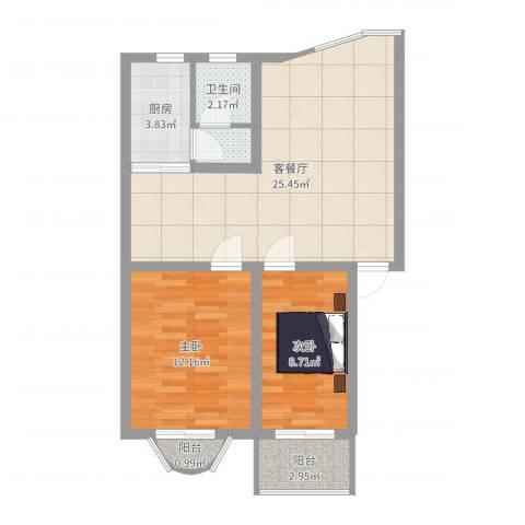 明媚星城2室2厅1卫1厨84.00㎡户型图