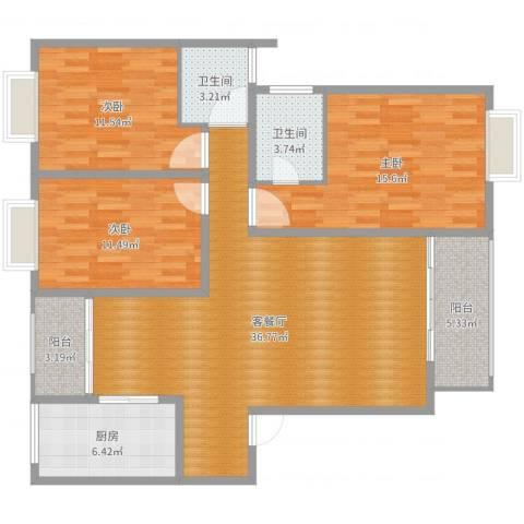 天瑞国际3室2厅2卫1厨122.00㎡户型图