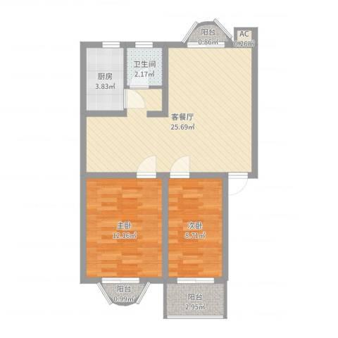 明媚星城2室2厅1卫1厨72.00㎡户型图