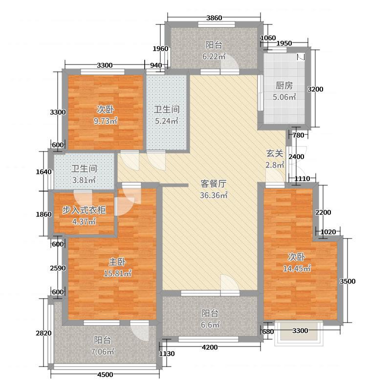万合名著138.83㎡10#奇数层A7户型3室3厅2卫1厨