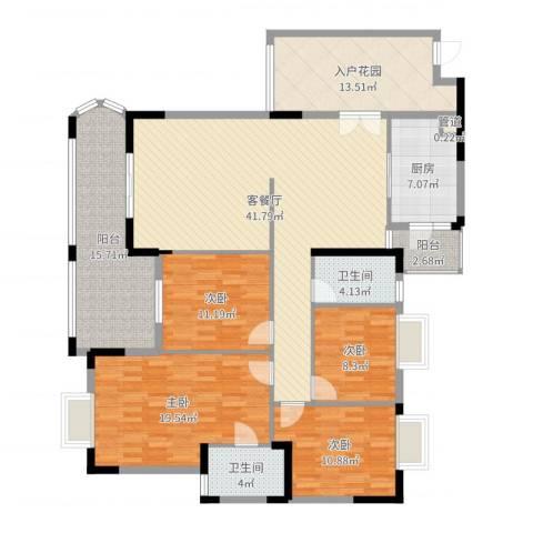 银信花园4室2厅2卫1厨174.00㎡户型图