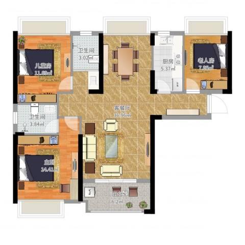 广电兰亭荣荟3室2厅2卫1厨112.00㎡户型图