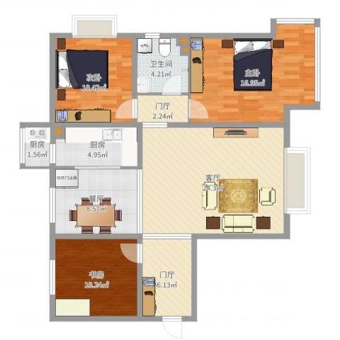 京润现代城二期6-13室2厅1卫2厨112.00㎡户型图